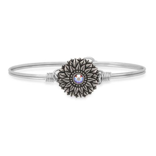 Regular Sunflower Silver Tone Bangle Bracelet by Luca and Danni