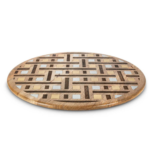 """Laser Weave Mango Wood with Metal Inlay 22"""" Lazy Susan by GG Collection"""