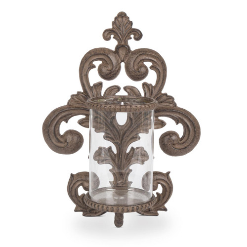 Metal Acanthus Leaf Wall Sconce with Glass Cylinder - GG-Collection