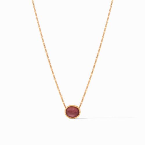 Julie Vos Verona Solitaire Necklace - Gold Iridescent Azure Bordeaux