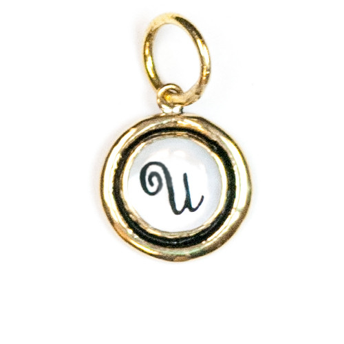 """Letter """"U"""" Mother of Pearl Insignia Charm by Waxing Poetic"""