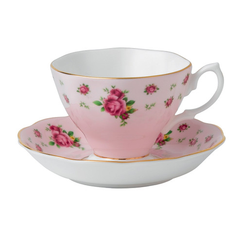 New Country Roses Pink Teacup & Saucer Set by Royal Albert