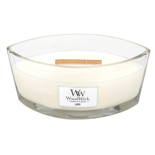 Linen WoodWick Candle 16 oz. HearthWick Flame