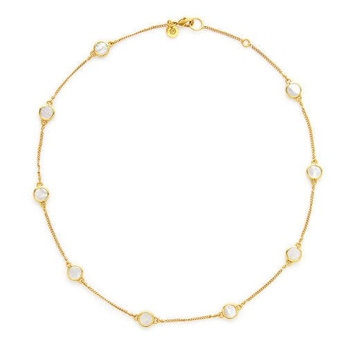 Julie Vos Valencia Delicate Station Necklace - Mother of Pearl
