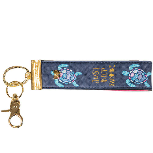 Just Keep Swimming Turtle Leather Key Fob by Simply Southern