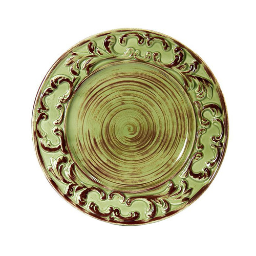 """(A) Baroque Green Dinner Plate 11"""" - Set of 4 - Intrada Italy - Special Order"""