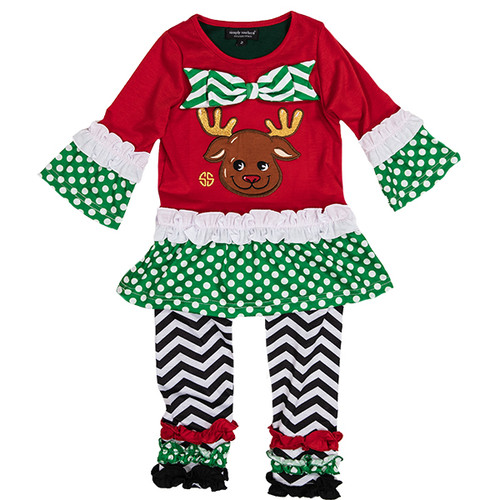Reindeer Toddler Dress Set Size 5 by Simply Southern