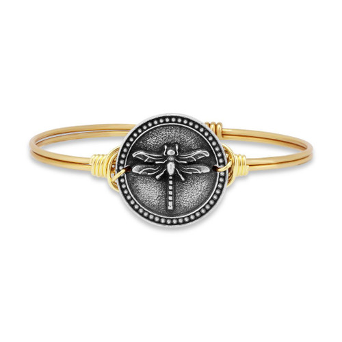 Petite Dragonfly Brass Tone Bangle Bracelet by Luca and Danni