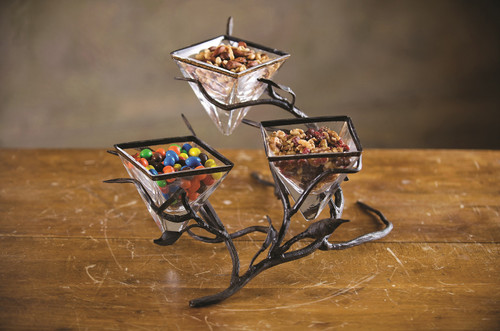 Fruitwood Triple Bowl Server by Bella Toscana