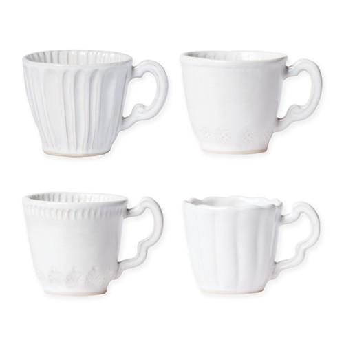 Vietri Incanto Stone White Assorted Mugs - Set of 4