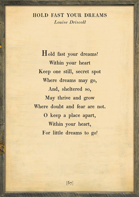 """17"""" x 25"""" Cream Hold Fast Your Dreams Poetry Collection Art Print with Grey Wood Frame by Sugarboo Designs - Special Order"""