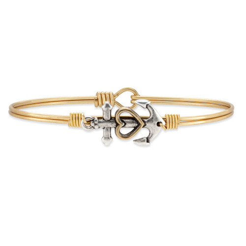 Petite Anchor Brass Tone Bangle Bracelet by Luca and Danni