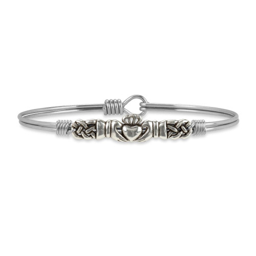 Regular Claddagh Silver Tone Bangle Bracelet by Luca and Danni