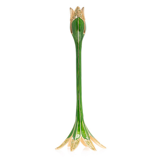 Jay Strongwater Ambrosius Tulip Tall Candle Stick Holder in Leaf - Special Order