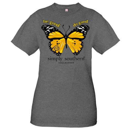 Medium Vintage Butterfly Dark Heather Gray Short Sleeve Tee by Simply Southern