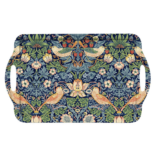William Morris Strawberry Thief Blue Large Melamine Handled Tray by Pimpernel - Special Order