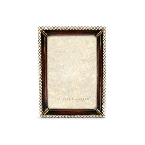 """Jay Strongwater Lorraine Stone Edge 4"""" x 6"""" Square Frame - Brown - Special Order"""