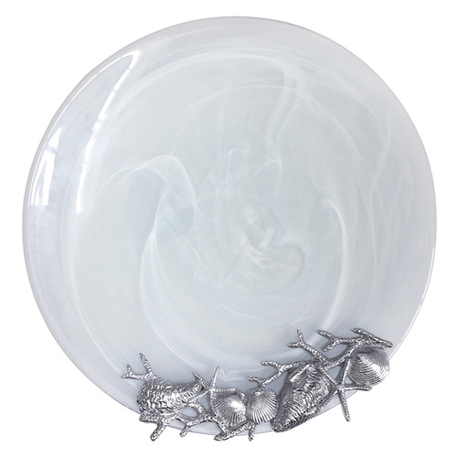 White Shell Alabaster Platter by Mariposa - Special Order