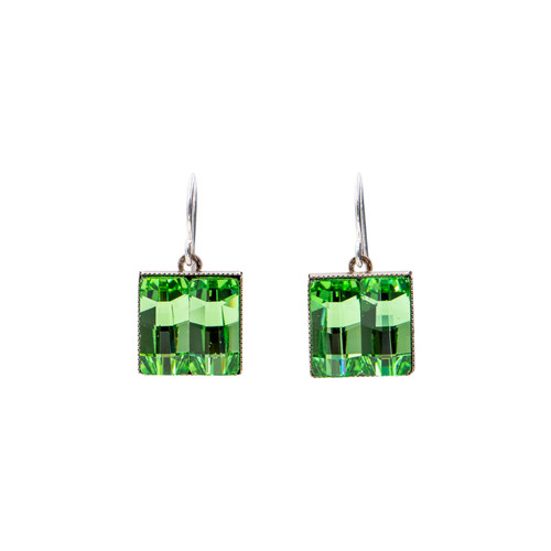 Limited Edition Peridot Small Square Earrings - Firefly Jewelry