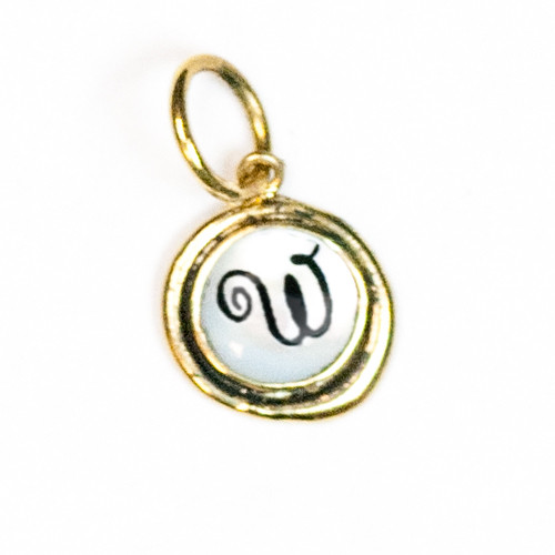 """Letter """"W"""" Mother of Pearl Insignia Charm by Waxing Poetic"""