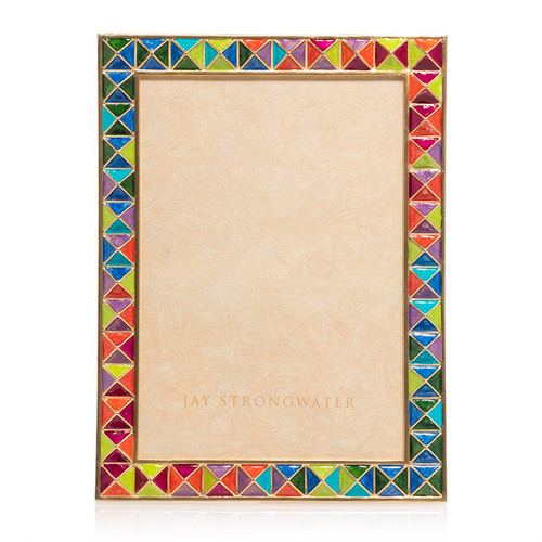 Jay Strongwater Mosaic Pyramid 5 x 7 Frame in Rainbow - Special Order
