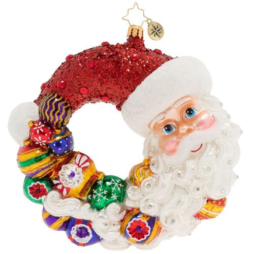 Santa Comes Full Circle Wreath Ornament by Christopher Radko -