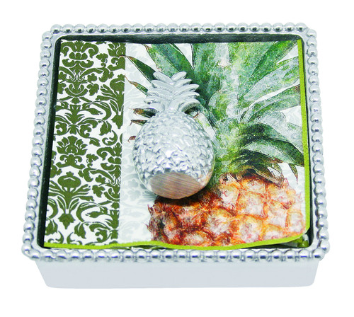 Pineapple Beaded Napkin Box by Mariposa - Special Order
