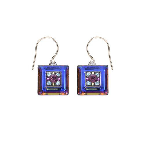 Crystal Small Square Earrings - Firefly Jewelry