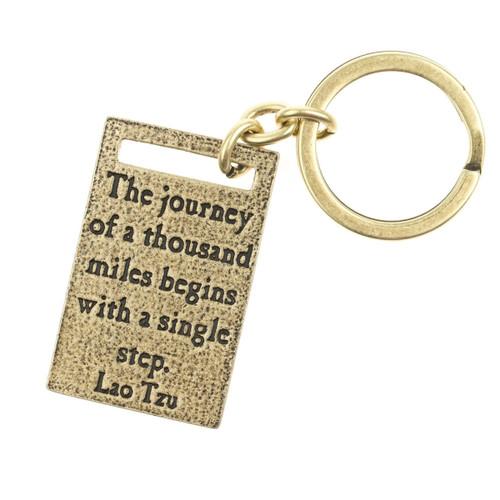 Journey Of A Thousand Miles Antique Brass Key Ring - Lenny & Eva