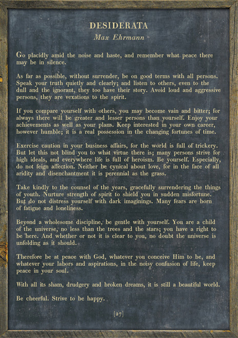 """17"""" x 25"""" Charcoal Desiderata Poetry Collection Art Print with Grey Wood Frame by Sugarboo Designs - Special Order"""