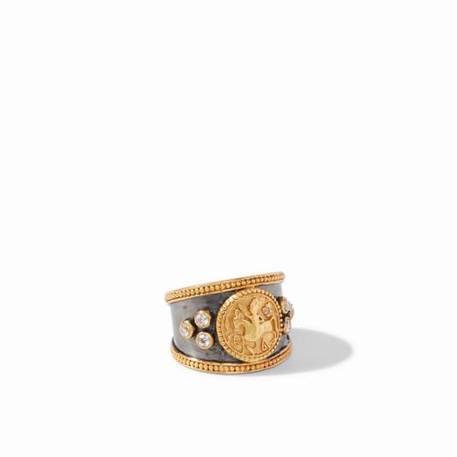 Julie Vos Coin Crest Ring - Mixed Metal Cz - Size 7 Adjustable