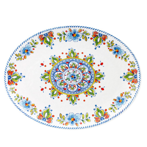 "Madrid White 16"" Oval Platter by Le Cadeaux"