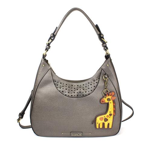 Pewter Giraffe Sweet Hobo Tote by Chala