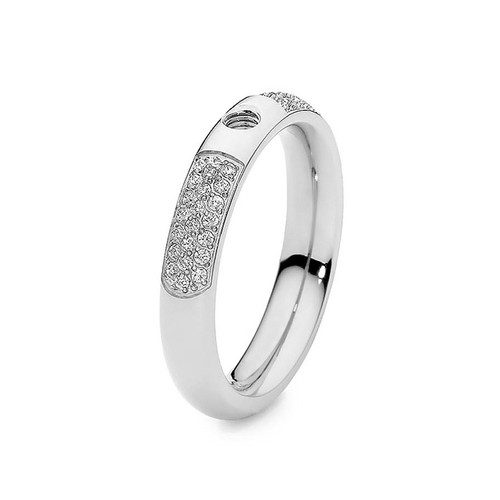 Size 7 Silver with Crystals Deluxe Basic Small Interchangeable Ring by Qudo Jewelry
