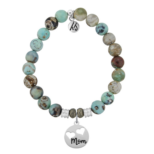 Turquoise Jasper Stone Bracelet with Mom Sterling Silver Charmby T. Jazelle