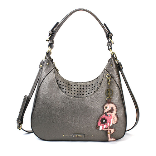 Pewter Flamingo Sweet Hobo Tote by Chala