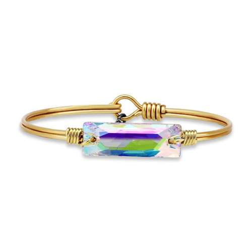Hudson Collection Regular Swarovski Crystal AB Brass Tone Bangle Bracelet by Luca and Danni