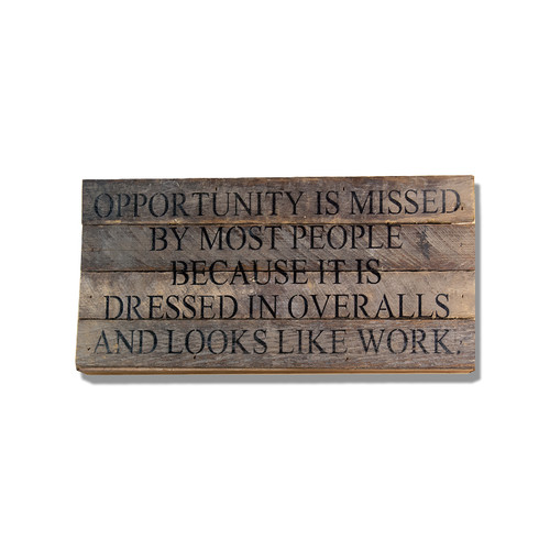 """Opportunity Is Missed 14"""" x 6"""" Wall Art - Dark - Second Nature By Hand"""