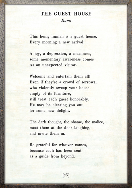 """17"""" x 25"""" White The Guest House Poetry Collection Art Print with Grey Wood Frame by Sugarboo Designs - Special Order"""
