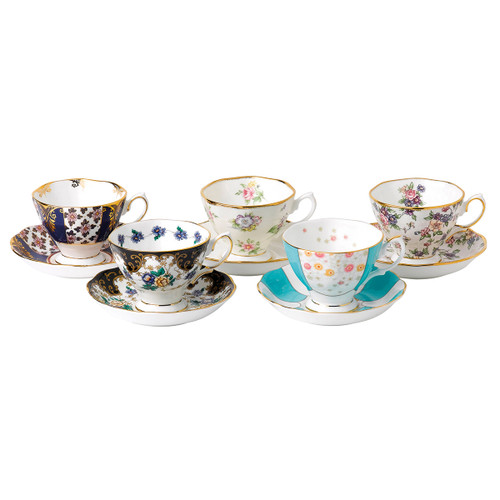 100 Years 1900-1940 5-Piece Teacup & Saucer Set by Royal Albert - Special Order