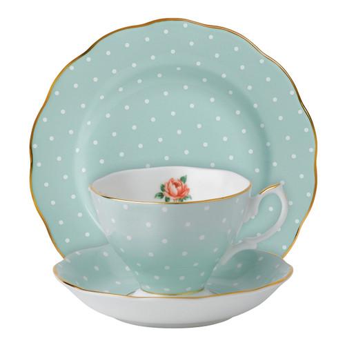 Polka Rose 3-Piece Teacup Set by Royal Albert