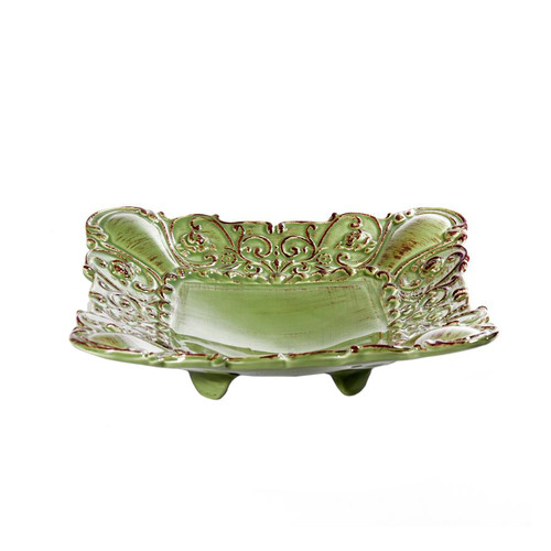 """(A) Baroque Green Square Footed Shallow Bowl 10""""W - Set of 4 - Intrada Italy - Special Order"""