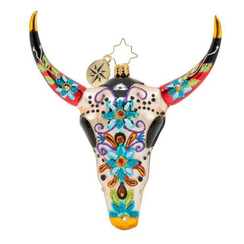Sugar Skull Bull Ornament by Christopher Radko -