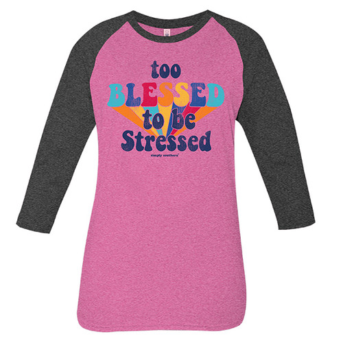 Large Vintage Pink Too Blessed Long Sleeve Tee by Simply Southern
