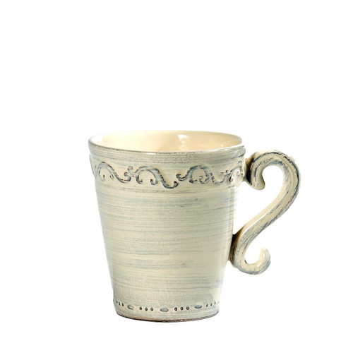 """(I) Baroque Cream Mug 5""""H,  16 oz. - Set of 4 - Intrada Italy (Limited Quantities) - Special Order"""