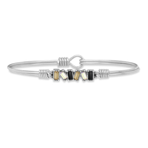 Petite Luxe Ombre Mini Hudson Silver Tone Bangle Bracelet by Luca and Danni