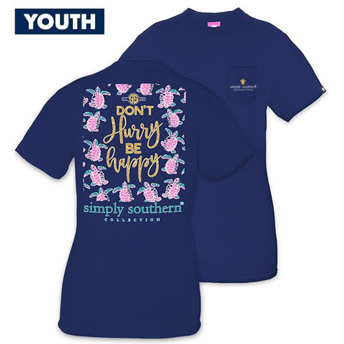 Large Don't Hurry Be Happy YOUTH Short Sleeve Tee by Simply Southern
