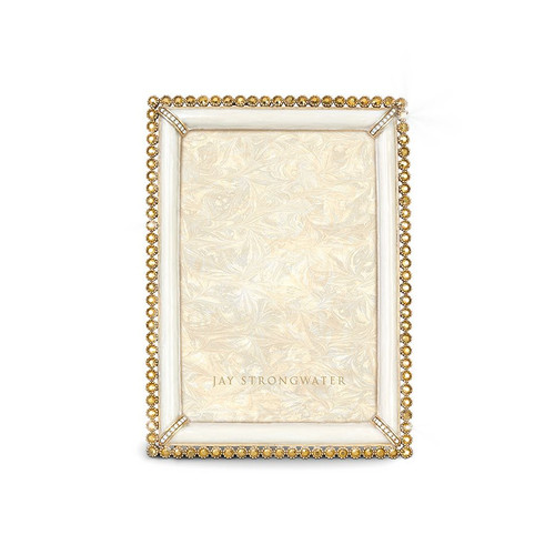 """Jay Strongwater Lorraine Stone Edge 4"""" x 6"""" Square Frame - White - Special Order"""