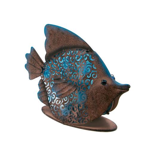 """Garden Meadow 10.5""""H Solar Metal Fish"""
