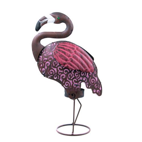 """Garden Meadow 18""""H Solar Lighted Metal Flamingo"""